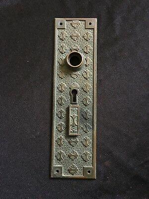 Antique Entry Solid Bronze  Victorian Eastlake Nashua Double Keyhole Back Plate