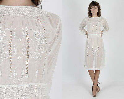 Vintage 1900s Antique Dress White Edwardian Wedding Floral Embroidered Lace Mini