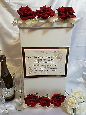 Wedding Card Post Box Red Roses Ivory Ribbon Personalised Flower Wishing Well