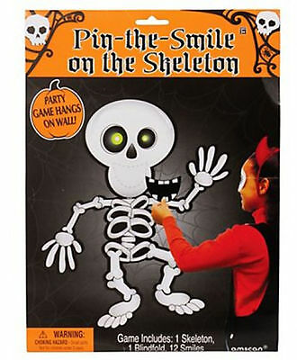 Pin the Smile on the Skeleton Halloween Party Game Like tail on donkey FREE P&P