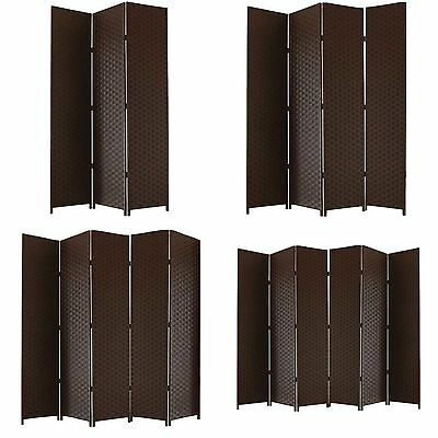 Hand Made Partition Folding Room Divider Separator Privacy Screen Panel Brown