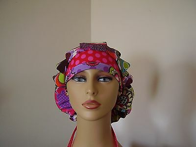 Bouffant/Ponytail Combo Scrub Hat- Multi color Floral - One Size