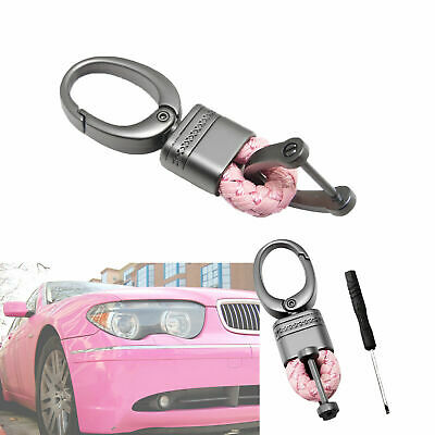 Key Fob Remote Braided Faux Leather Gunmetal Snap Keychain Key Ring - Pink