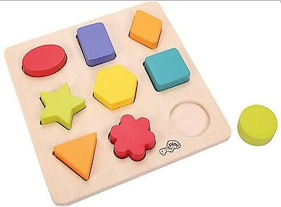 Grow & Play My First Block Puzzle Baby Learning Activity Toy Wooden Shape Sorter
