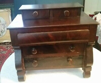 "c1850 Empire child doll miniature chest, jewelry box, flame mahogany, ogee, 9""t"
