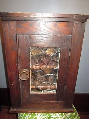 Antique Vintage  Wood Display Cabinet Curio Box Glass decorative Door & Shelves