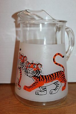 """Vintage ESSO/EXXON """"Tiger in Your Tank"""" advertising frosted pitcher w/tigers"""