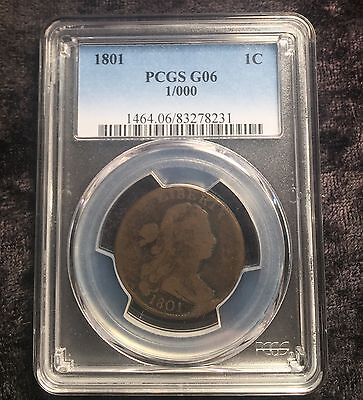 1801 Draped Bust Large Cent 1/000 Fraction Error Rare Terminal Die State PCGS G6