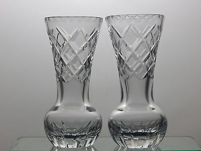 Beautiful Design Cut Glass Crystal Vases Set Of 2