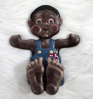 Vintage Black Americana Little Boy Wall Hook Holder Wall Hanging Hand Painted