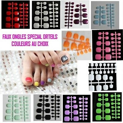 24 Faux Ongle Orteil Pied Couleur Au Choix Tips Capsules Colle Ong020
