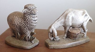 Splendid Vintage Sheep & Goat. Finely Hand Painted Plaster Of Paris Collectibles
