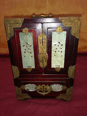 Chinese Jewelry Trinket Redwood With Jade Inserts Lock Box Chest