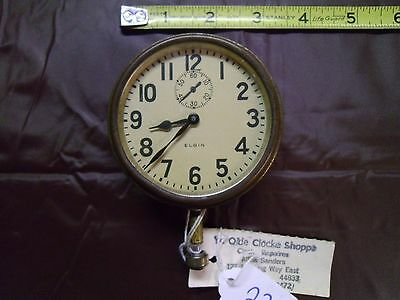 ANTIQUE ELGIN 8 DAY WIND INDICATOR CAR CLOCK Works Great