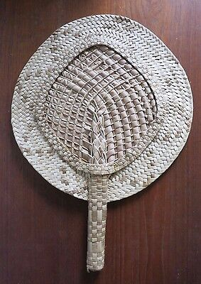 Vintage 1940's South Pacific Polynesian Woven Fan from Hawaii