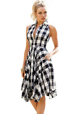da24817214d Cali Chic Juniors  Dress Celebrity Black White Gray Checks Flared Midi  Skater Sh