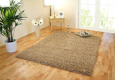 SMALL - EXTRA LARGE BEIGE THICK 5cm PILE PLAIN MODERN NON-SHED SOFT SHAGGY RUG