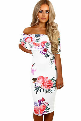 982ed8b9dc3 Cali Chic Juniors  Dress Celebrity White Multi Floral Bardot Midi Boho Dress