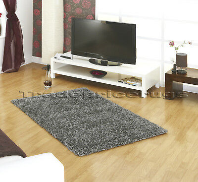 EXTRA LARGE X THICK SILVER GREY SHAGGY RUG 200x290 SALE