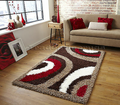 Small - Extra Large Brown Cream Beige Red Modern Pattern Thick Trendy Shaggy Rug
