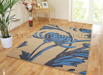 NEW EXTRA LARGE BEIGE BLUE BROWN FLOWER FLORAL MODERN RUG 160x225 FREE DELIVERY