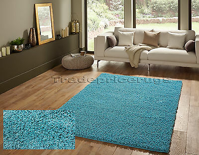 Overstock Clearance Small-Extra Large Thick Shaggy Shag Pile Teal Blue Mix Rug