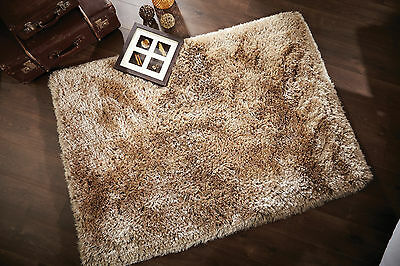 Small Large Soft Chunky Thick Long 8Cm Pile Shaggy Light Golden Beige Pearl Rug