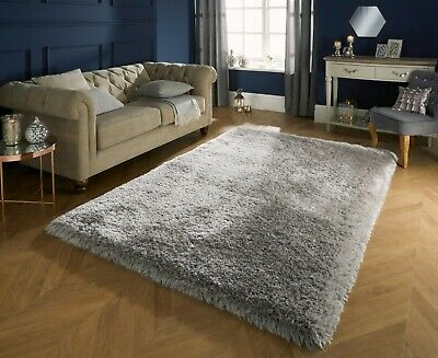 Small - Large Soft Chunky Thick Long 8Cm Shaggy Light Silver Grey Pearl Rug
