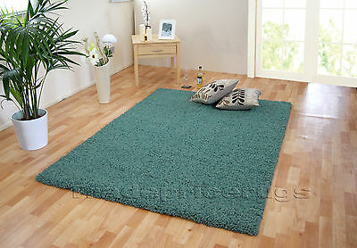 Small - Extra Large Thick Dense Duck Egg Blue Plain Modern Shaggy Rugs. 11 Sizes