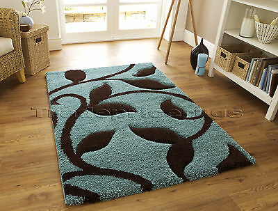 LARGE THICK DEEP PILE SHAGGY SOFT DUCK EGG BLUE CHOCOLATE BROWN RUG 120x170cm