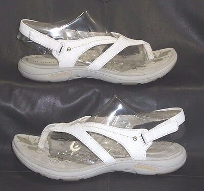 Merrell White Leather Fabric Open Toe Thong Slingbacks Sandals Shoes Size USA 7