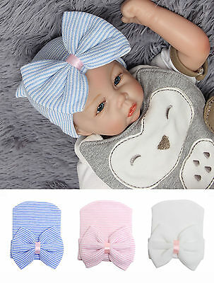 Cute Newborn Baby Infant Girl Toddler Comfy Bowknot Hospital Cap Beanie Hat Fast