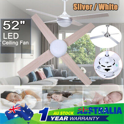 52 inch 1300mm LED Ceiling Fan with Light Lamp in White + Remote Control