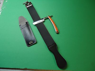 Multi Color Wood handle Straight  Razor & Leather  Strop for Razor Honning.