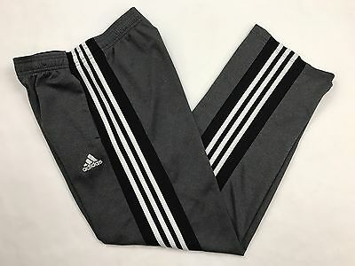 Adidas Climalite Youth Boy's Gray Track Athletic Pants 3 Striped Size L 14 16