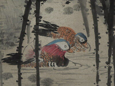 Hanging Scroll Chinese Painting lotus Mandarin duck Paper Asian Ink Picture i84