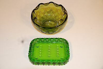 Green Bubble Soap Dish - Very Old and Green Candy Bowl