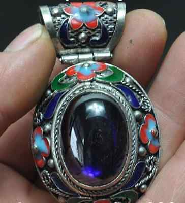 Chinese ancient Tibet silver pendant cloisonne inlaid gems w