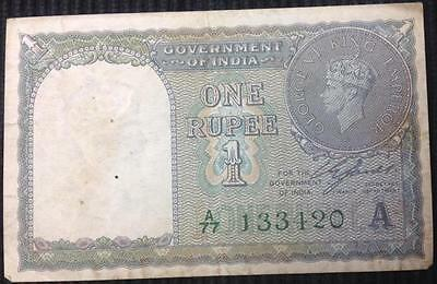 India 1 Rupee 1940 Green Serial Number P.25 High Grade Note