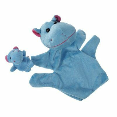 Hippo Hand Puppet Finger Puppet Set Funny Toy---Blue