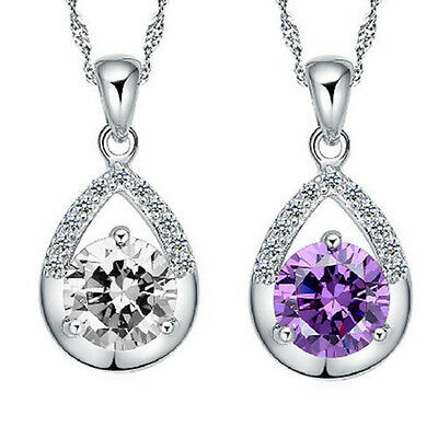 925Silver Plated Women Necklace Clavicle Chain Elegent Crystal Pendant Jewelry T