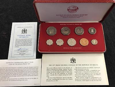 1977 Republic of Malta 9 Coin Proof Set In Original Box With All Papers Scarce