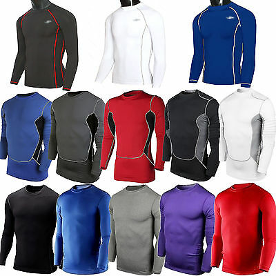 Men's Sports Compression Long Sleeve T-Shirt Gym Running Base Layer Skin Tights