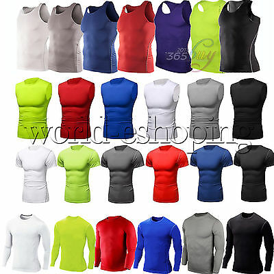 Men's Compression Armour Thermal Shirt Vest T-Shirt Gym Base Layers Tights Skin