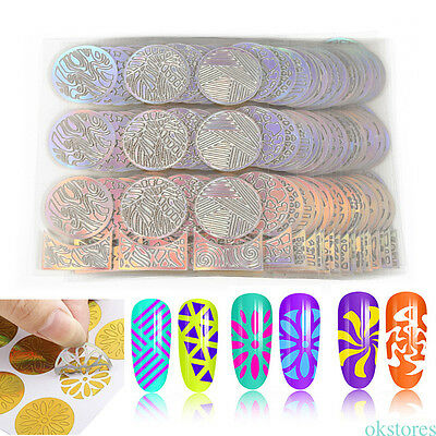 24PCs Round Hollow Stickers Stencils 3D Nail Art Decals Template Manicure Tool