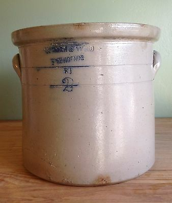 Antique 19 c. Warren & Wood 2 Gallon Salt Glaze Stoneware Crock, Providence, RI