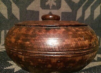 Early Antique Primitive 19th C Treen Bowl W/ Lid Faux Wood Grain Painting AAFA