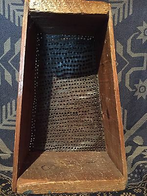 Large Antique Primitive Folky Hand Punched Tin Wood Box Frame Grater Mincer AAFA