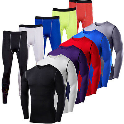 Men's Compression Armour Base Layer Shirt Tops Long Pants Sports Tights Gym Gear