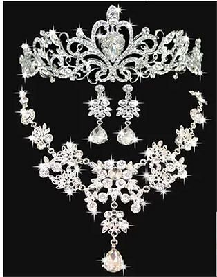 Luxury Jewelry Set Crown Tiara+Necklace+Earring Bridal Hair Accessories For Gift